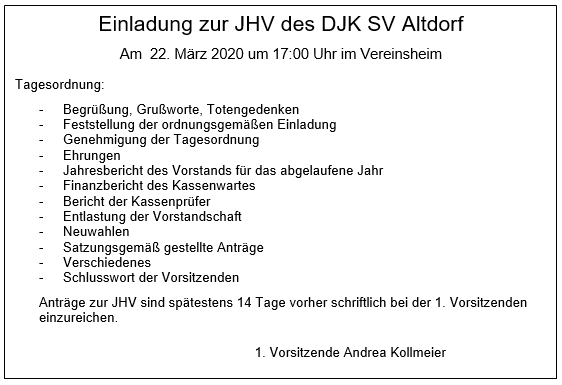 JHV Sportverein 2020